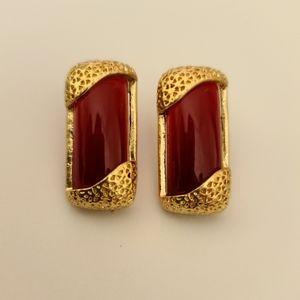 Red & gold rectangular earrings